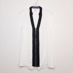 Cache Beaded Tank Top Blouse Exposed Zipper M